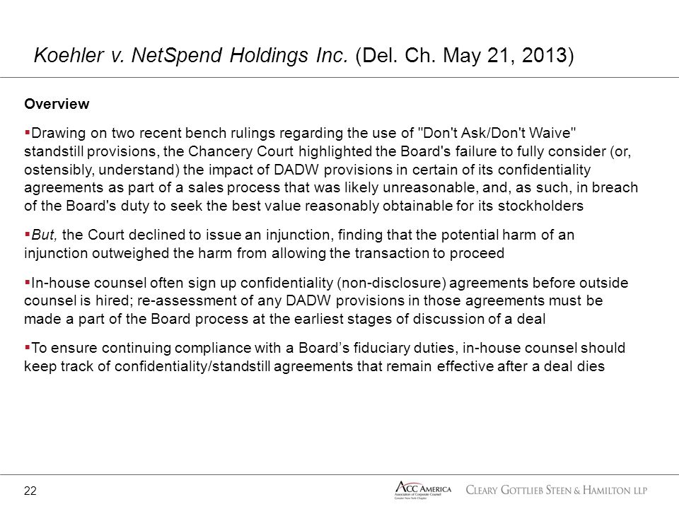Koehler v. NetSpend Holdings Inc. (Del. Ch. May 21, 2013)