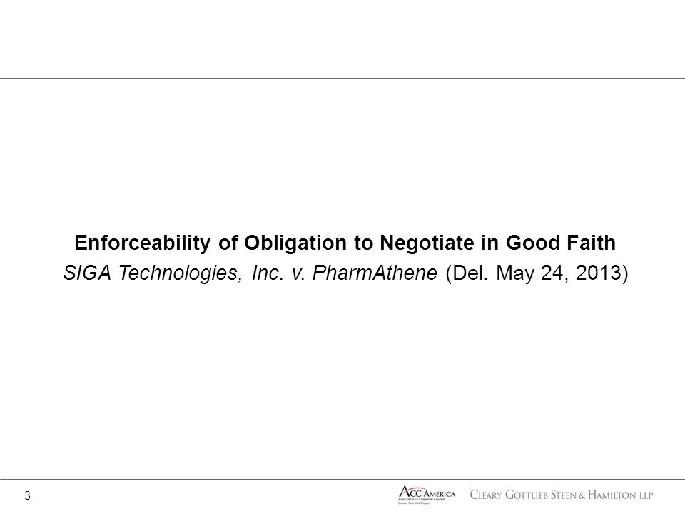 Enforceability of Obligation to Negotiate in Good Faith SIGA Technologies, Inc.