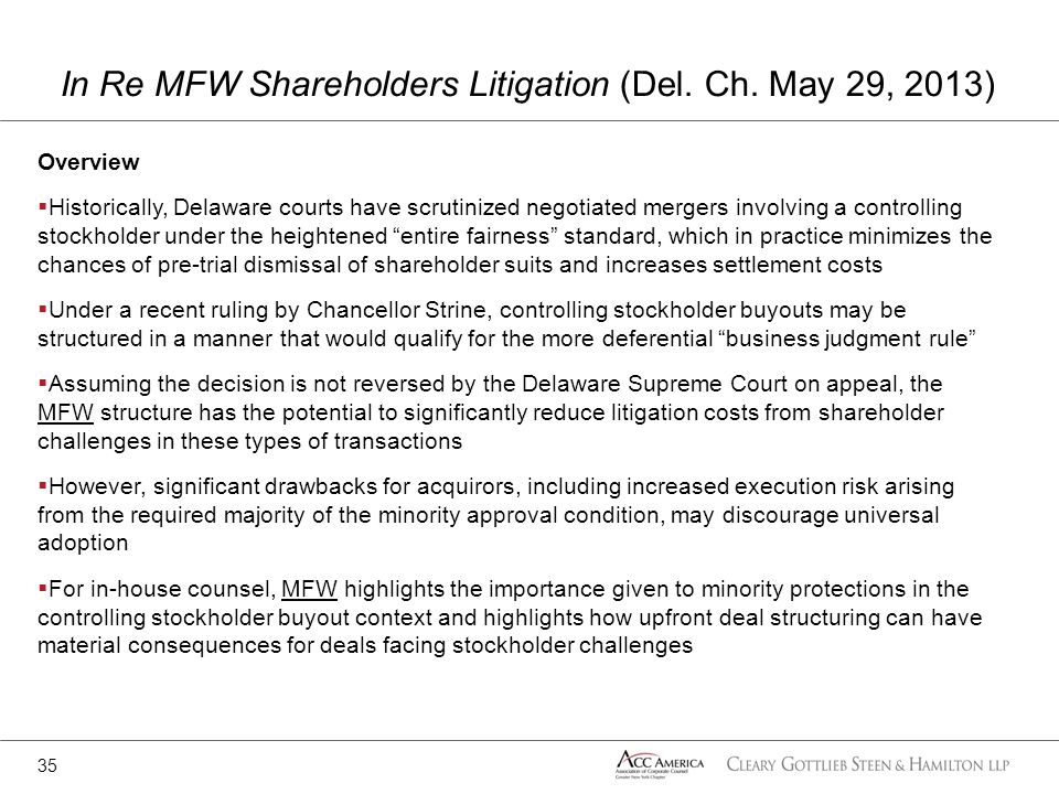 In Re MFW Shareholders Litigation (Del. Ch. May 29, 2013)