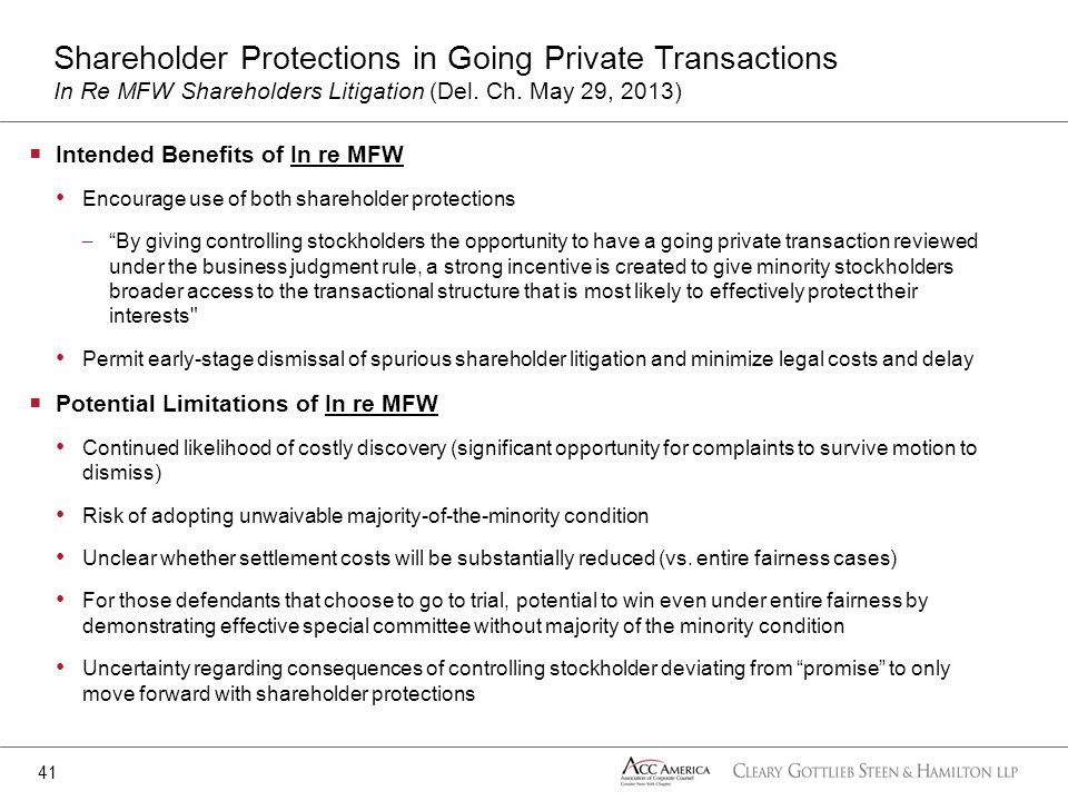 Shareholder Protections in Going Private Transactions In Re MFW Shareholders Litigation (Del. Ch. May 29, 2013)