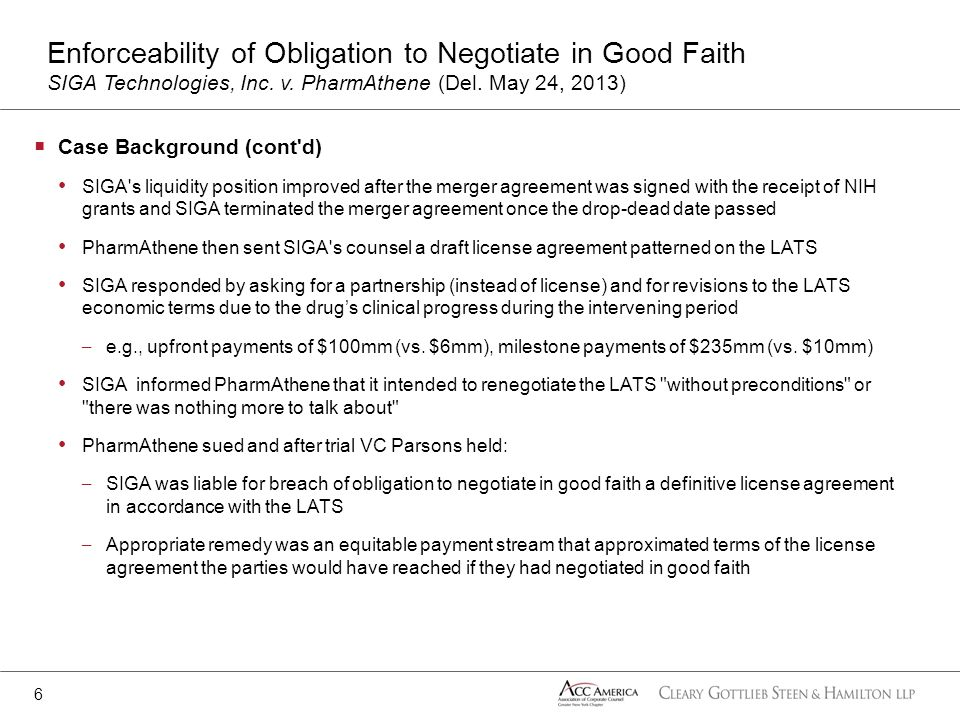 Enforceability of Obligation to Negotiate in Good Faith SIGA Technologies, Inc. v. PharmAthene (Del. May 24, 2013)
