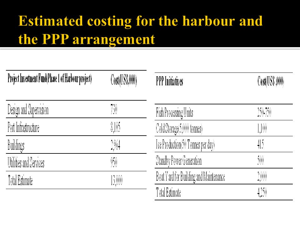 Estimated costing for the harbour and the PPP arrangement