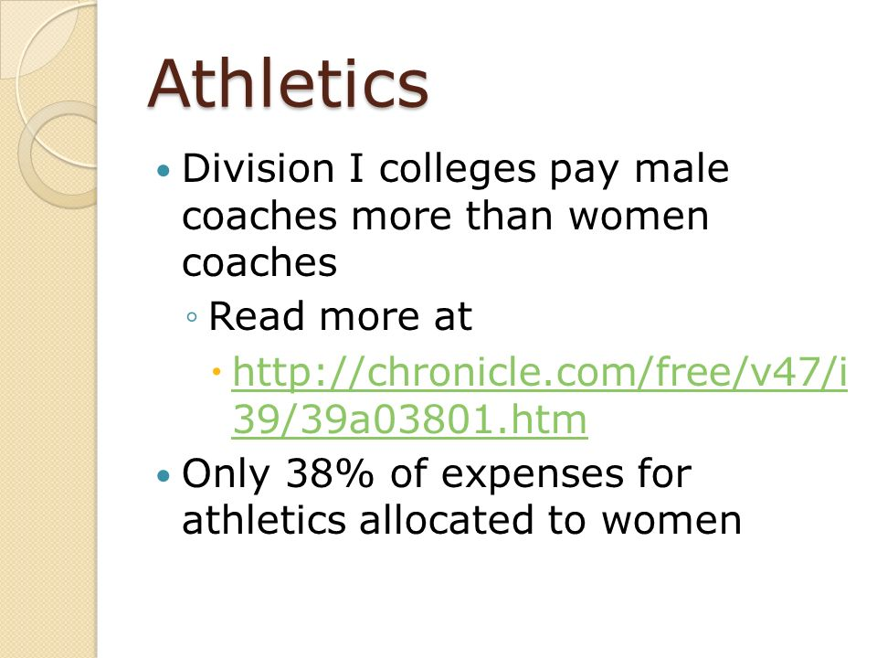 Athletics Division I colleges pay male coaches more than women coaches