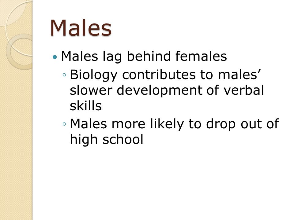 Males Males lag behind females