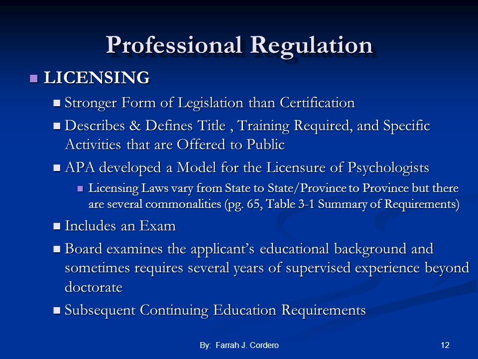 Professional Regulation