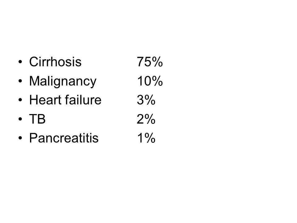 Cirrhosis 75% Malignancy 10% Heart failure 3% TB 2% Pancreatitis 1%