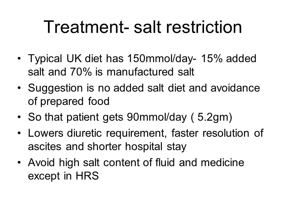 Treatment- salt restriction