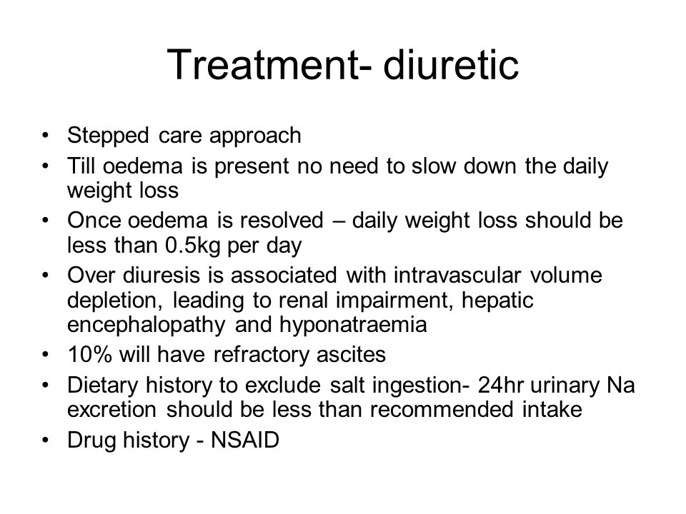 Treatment- diuretic Stepped care approach