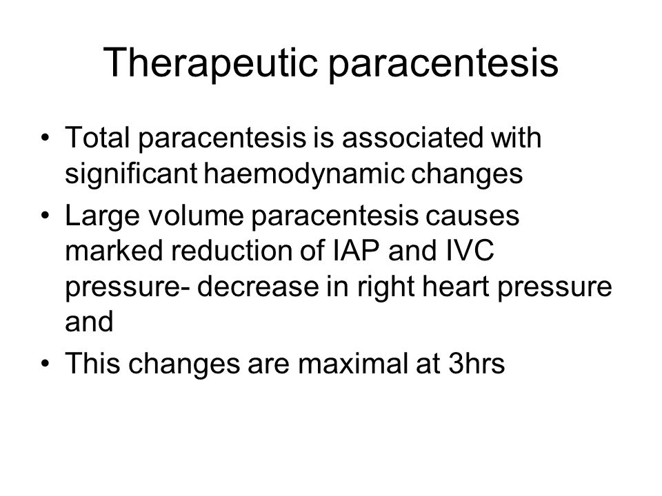 Therapeutic paracentesis