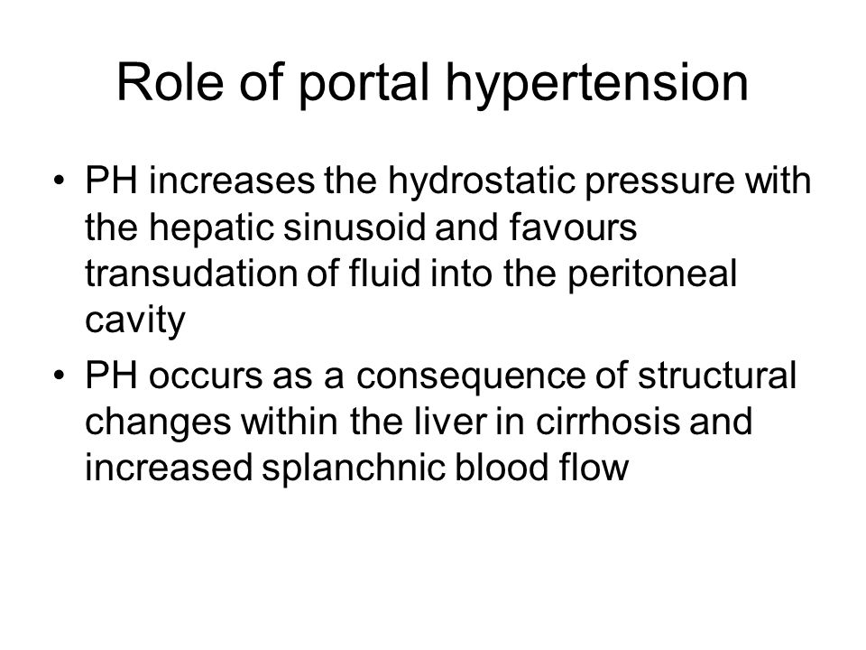 Role of portal hypertension