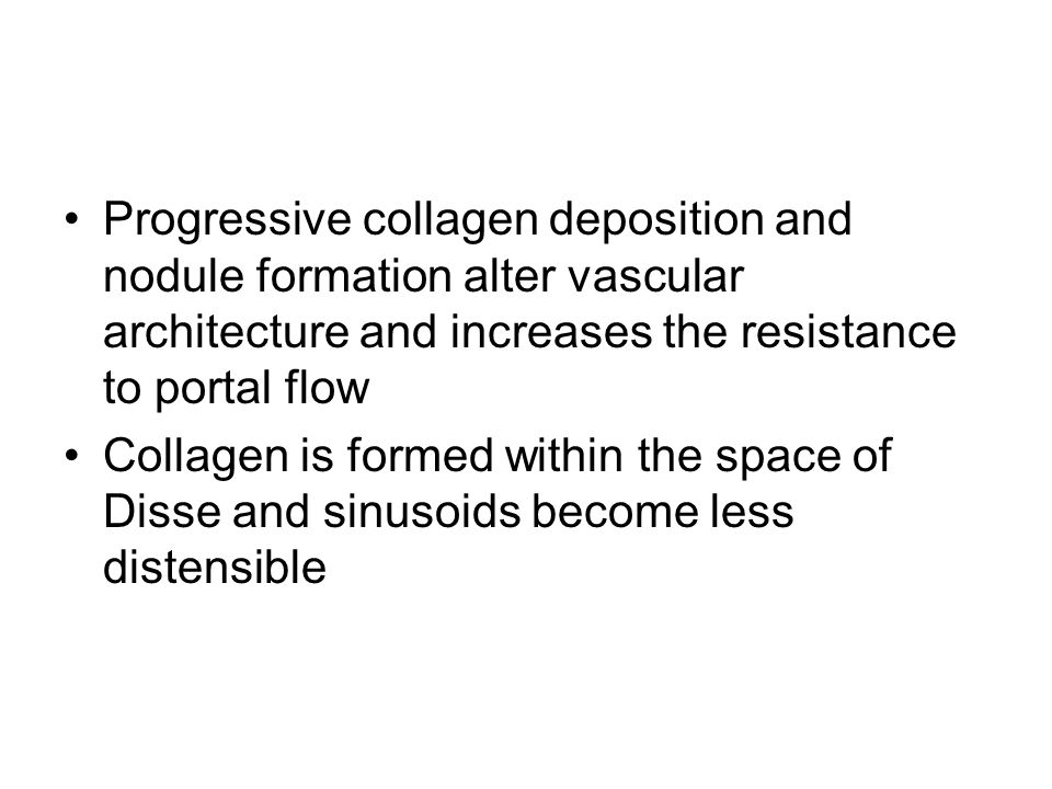 Progressive collagen deposition and nodule formation alter vascular architecture and increases the resistance to portal flow