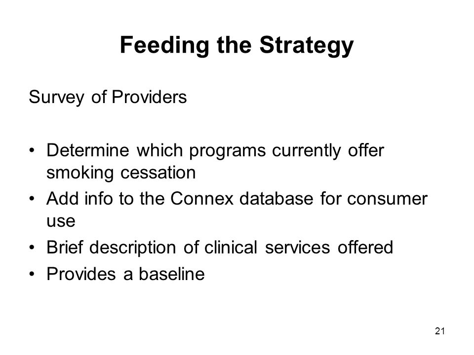 Feeding the Strategy Survey of Providers