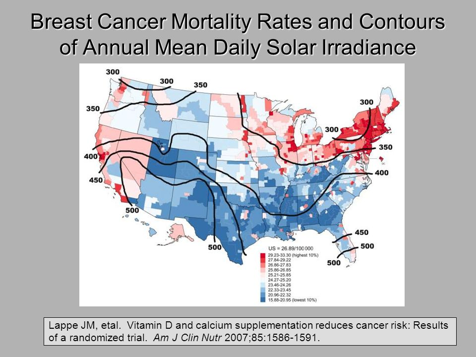 Breast Cancer Mortality Rates and Contours of Annual Mean Daily Solar Irradiance