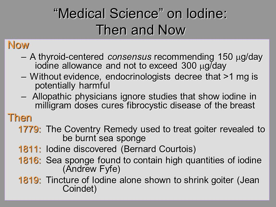 Medical Science on Iodine: Then and Now