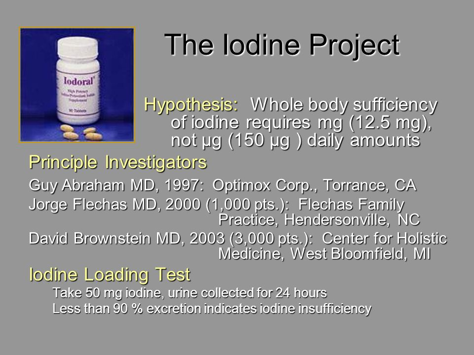 The Iodine ProjectHypothesis: Whole body sufficiency of iodine requires mg (12.5 mg), not μg (150 μg ) daily amounts.