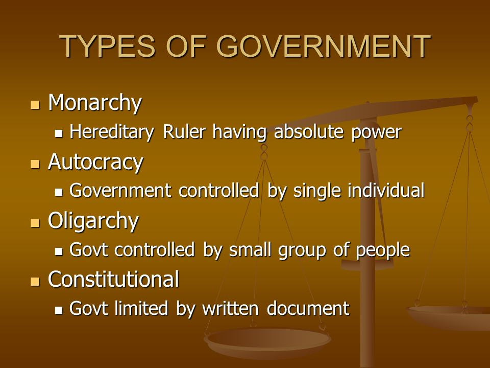 TYPES OF GOVERNMENT Monarchy Autocracy Oligarchy Constitutional
