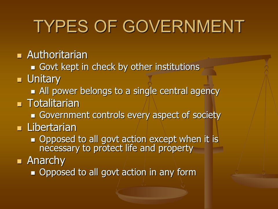 TYPES OF GOVERNMENT Authoritarian Unitary Totalitarian Libertarian