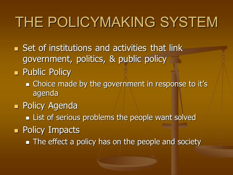 THE POLICYMAKING SYSTEM