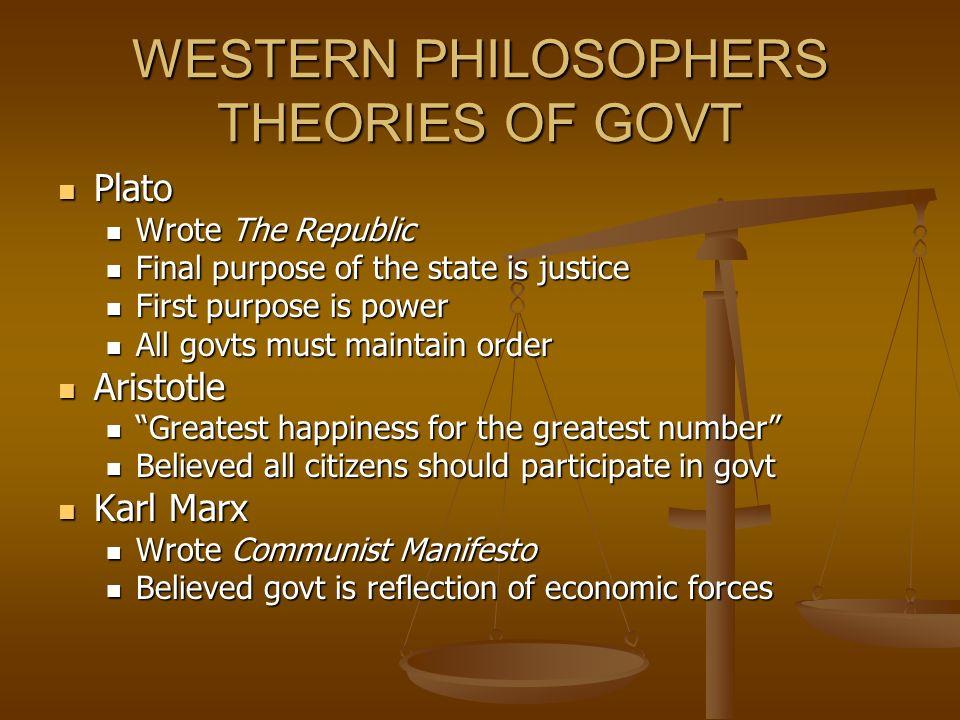 WESTERN PHILOSOPHERS THEORIES OF GOVT