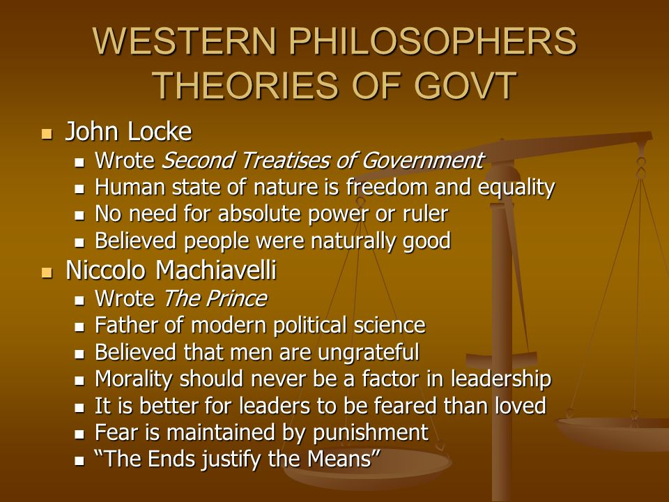 WESTERN PHILOSOPHERS THEORIES OF GOVT