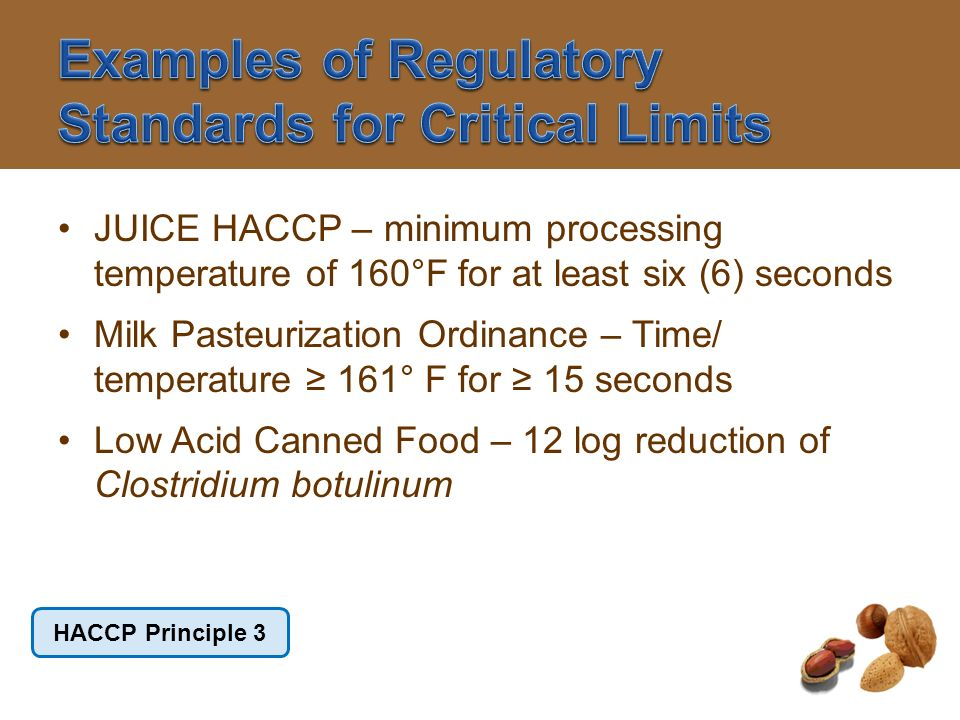 Examples of Regulatory Standards for Critical Limits