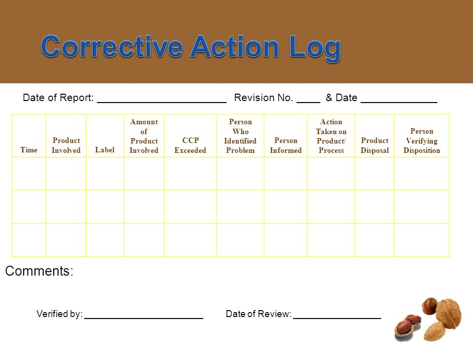 Corrective Action Log Comments: