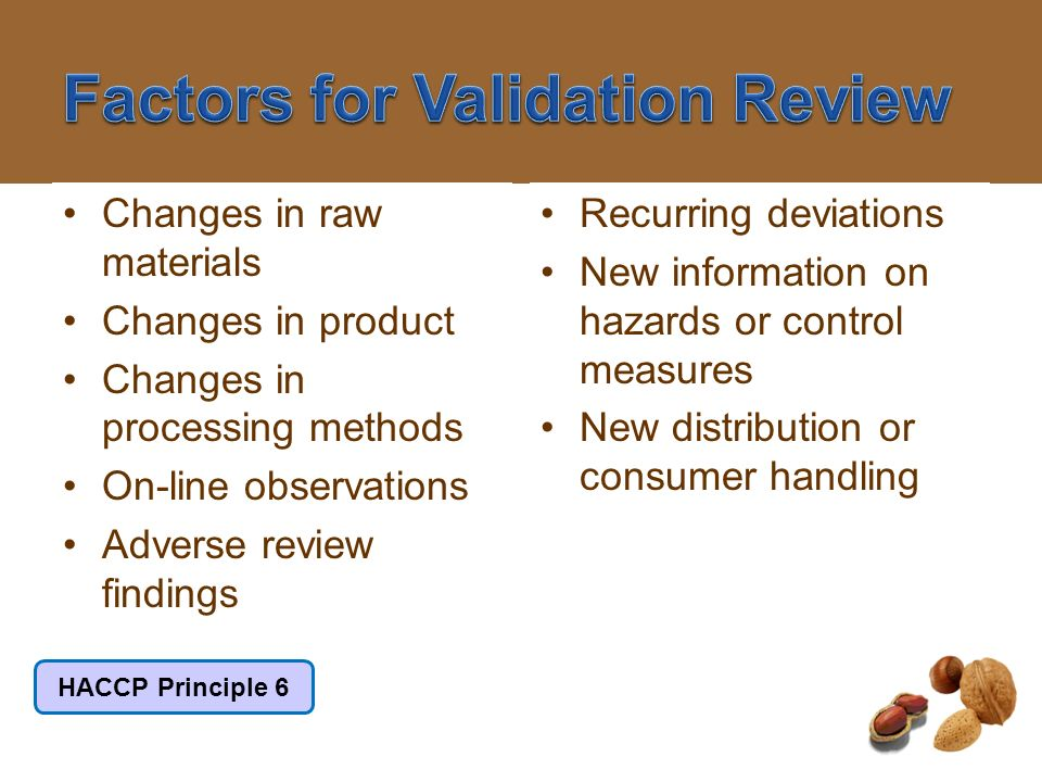 Factors for Validation Review