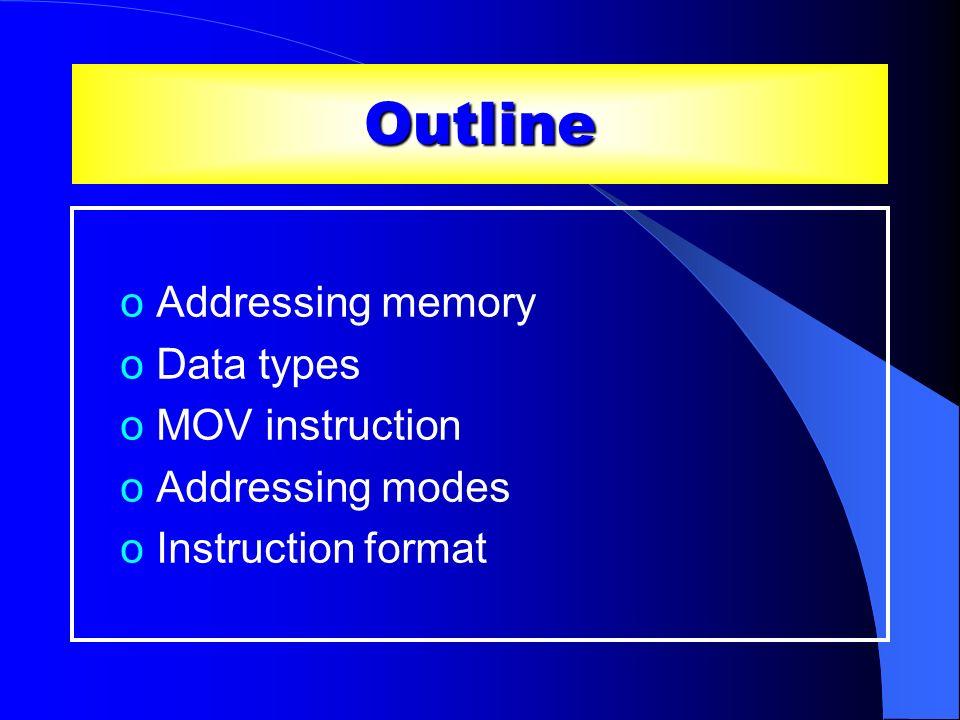 Outline Addressing memory Data types MOV instruction Addressing modes