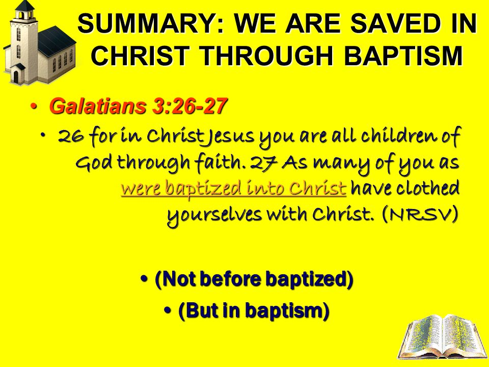 SUMMARY: WE ARE SAVED IN CHRIST THROUGH BAPTISM