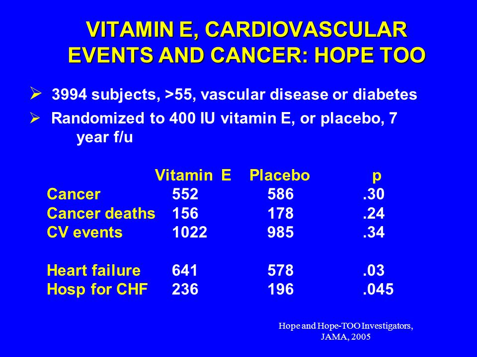 VITAMIN E, CARDIOVASCULAR EVENTS AND CANCER: HOPE TOO