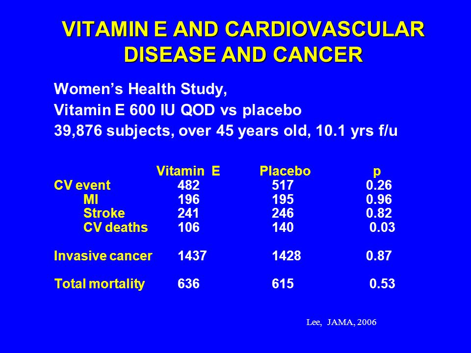 VITAMIN E AND CARDIOVASCULAR DISEASE AND CANCER