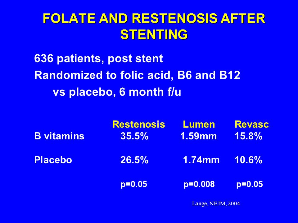FOLATE AND RESTENOSIS AFTER STENTING