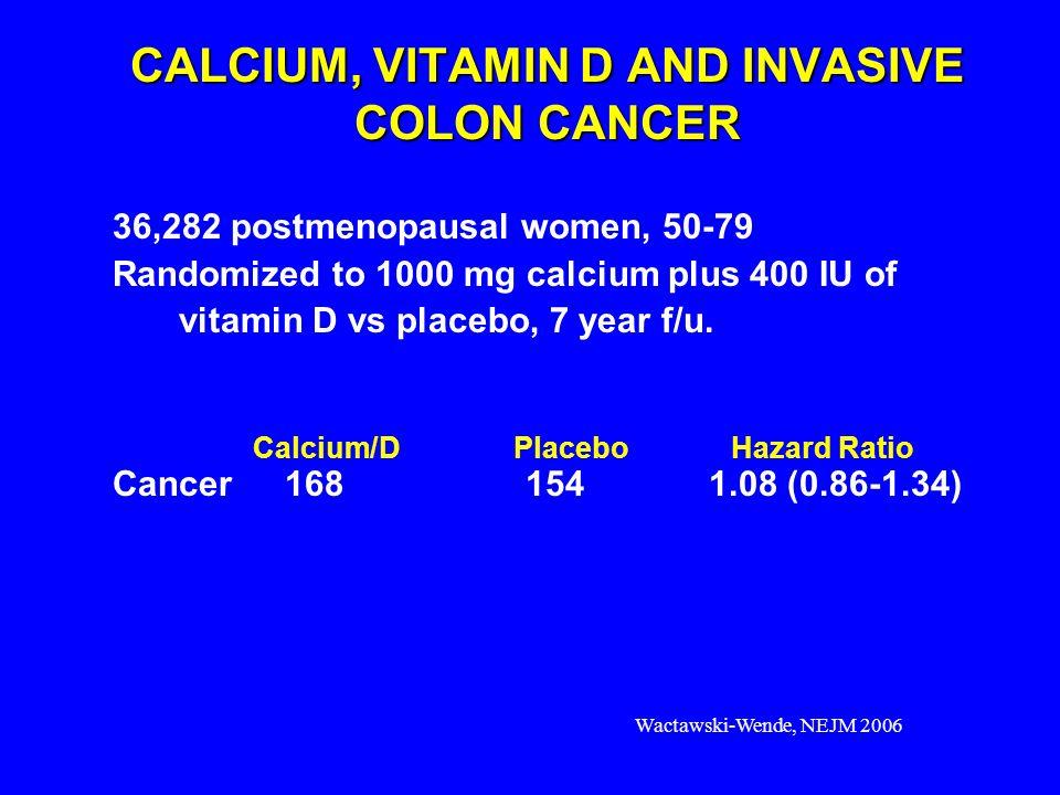 CALCIUM, VITAMIN D AND INVASIVE COLON CANCER