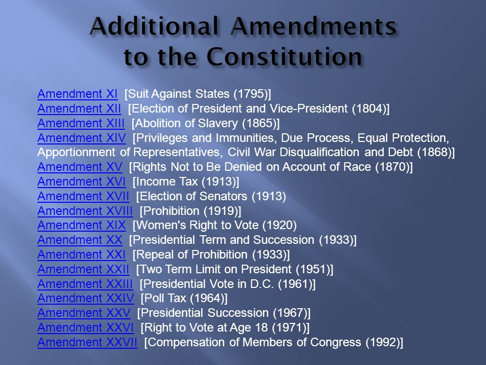 Additional Amendments to the Constitution
