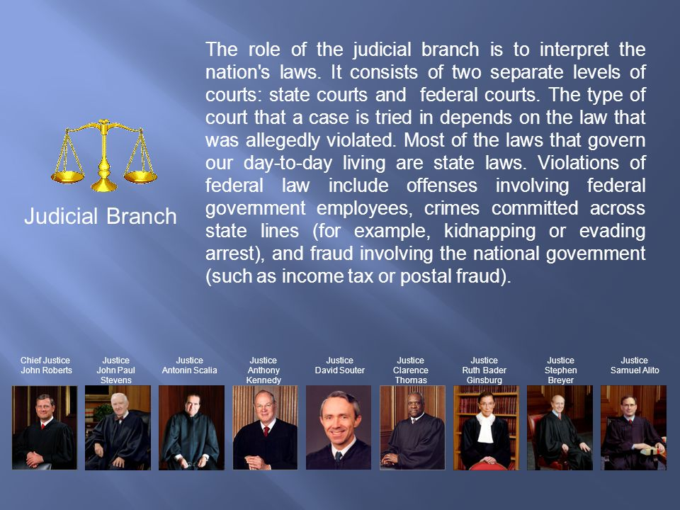 The role of the judicial branch is to interpret the nation s laws