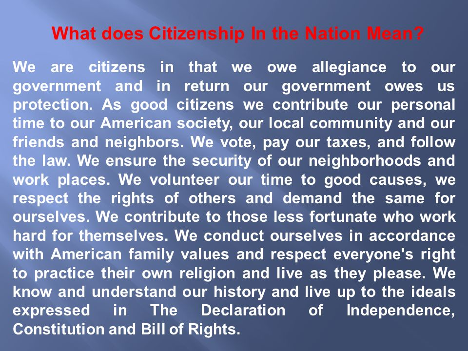What does Citizenship In the Nation Mean