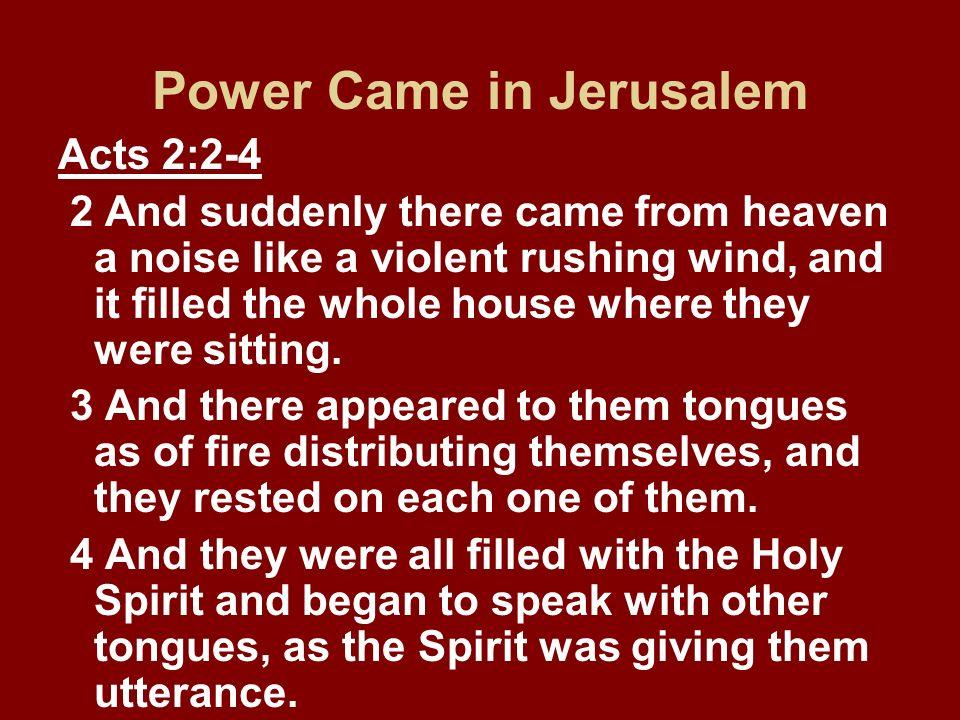 Power Came in Jerusalem