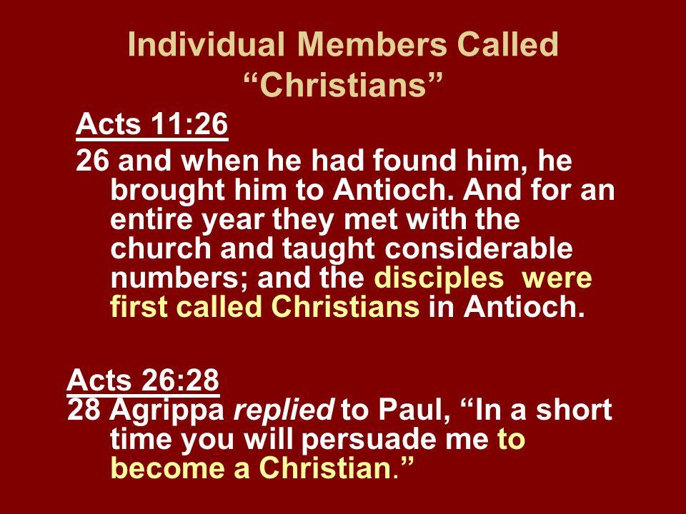 Individual Members Called Christians