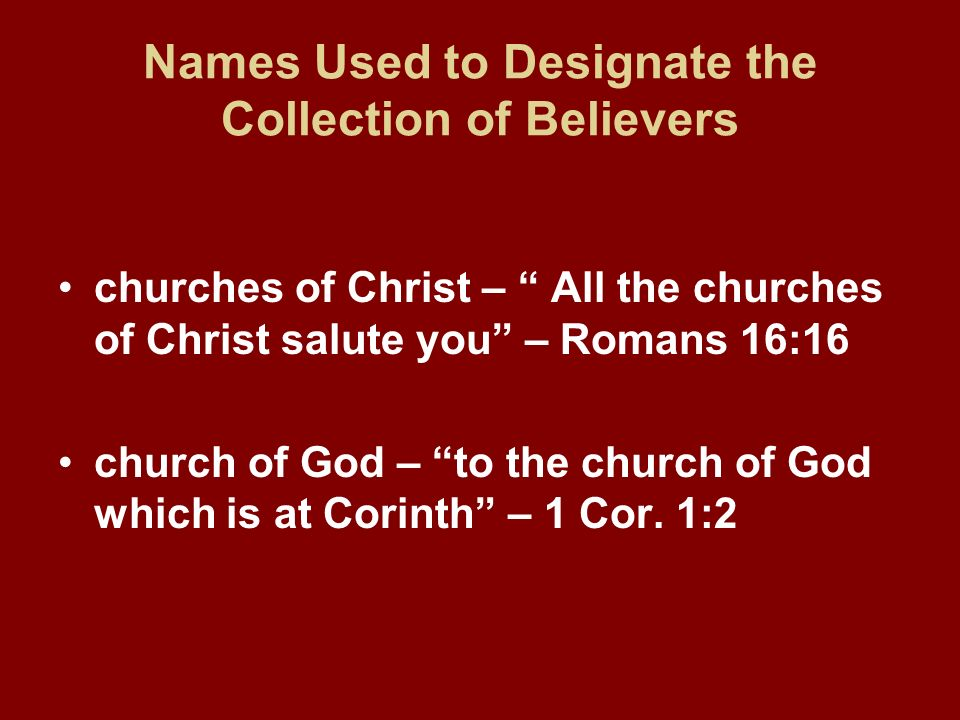 Names Used to Designate the Collection of Believers