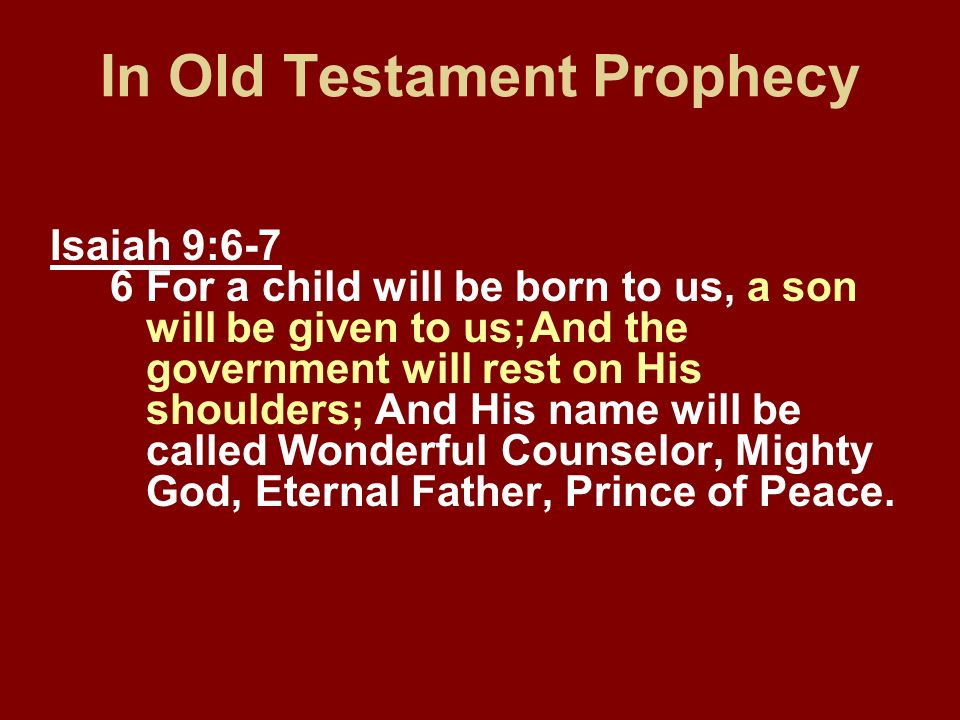 In Old Testament Prophecy
