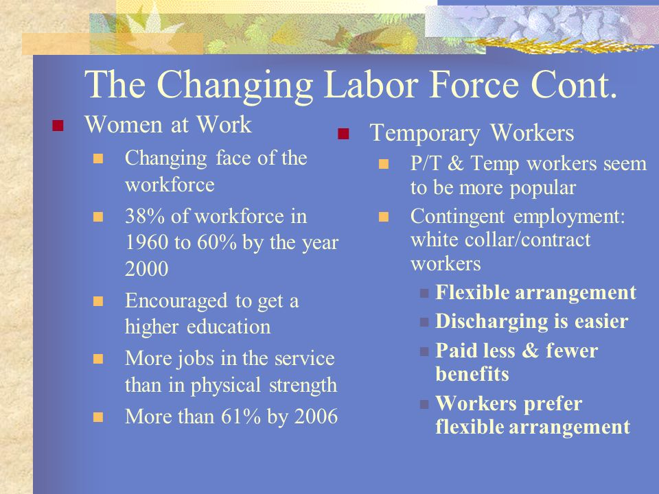 The Changing Labor Force Cont.