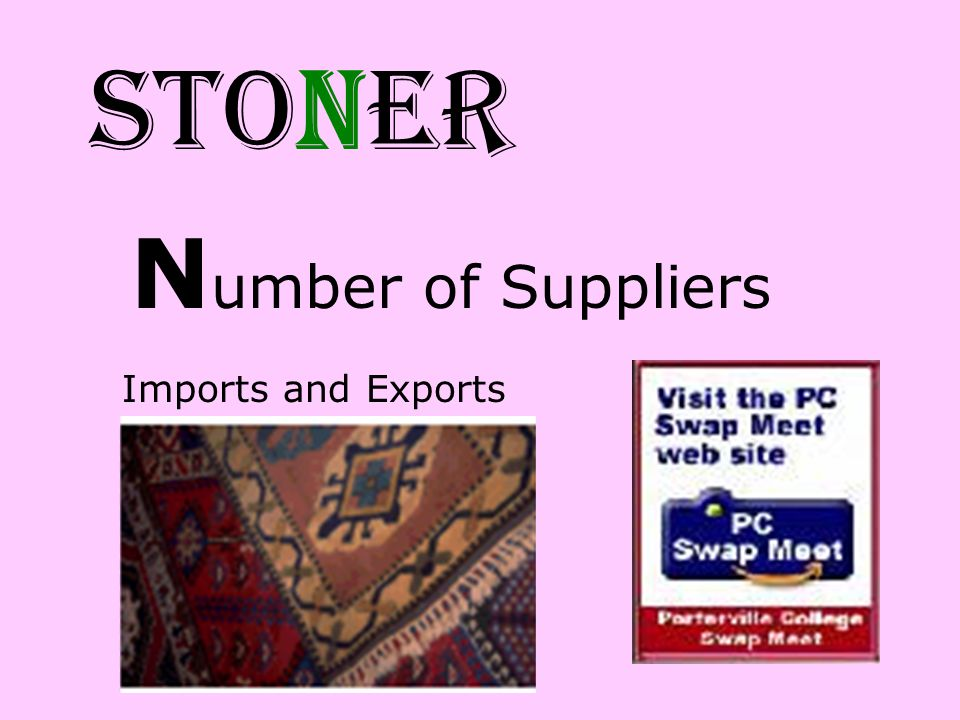 STONER Number of Suppliers Imports and Exports