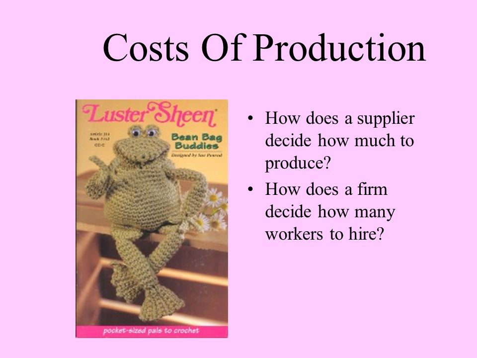 Costs Of Production How does a supplier decide how much to produce