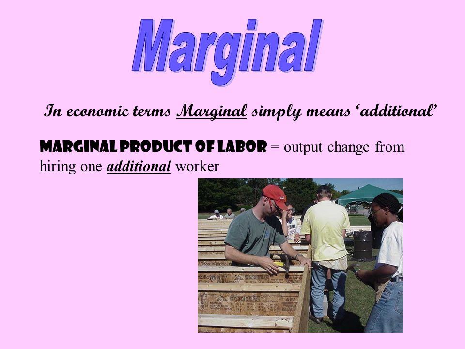 Marginal In economic terms Marginal simply means 'additional'