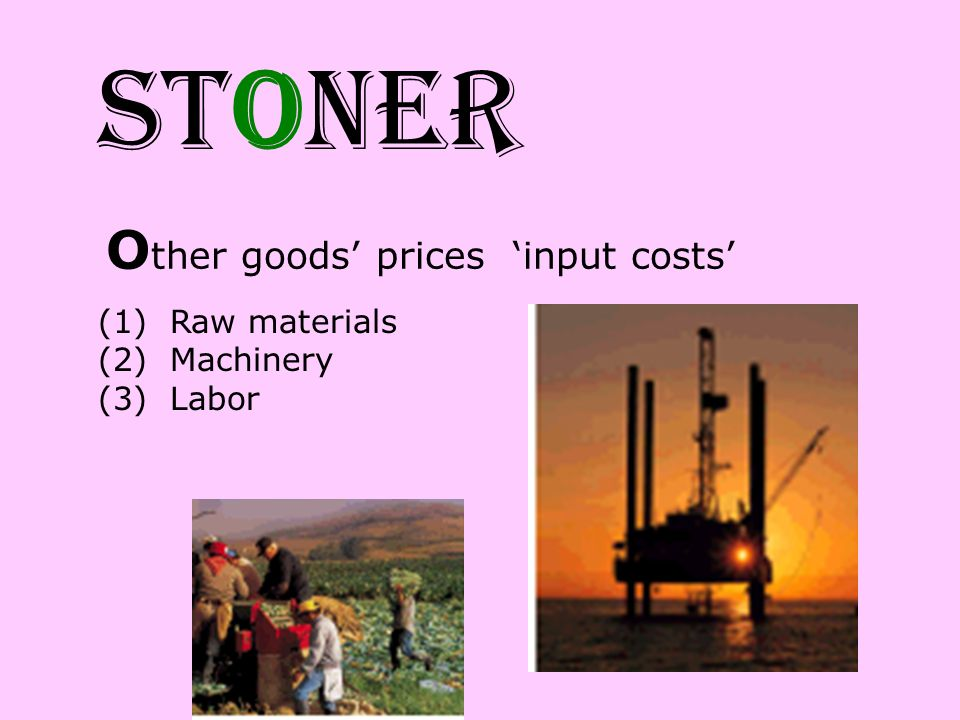 STONER Other goods' prices 'input costs' Raw materials Machinery Labor
