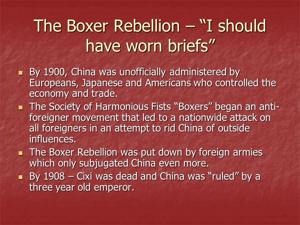 The Boxer Rebellion – I should have worn briefs