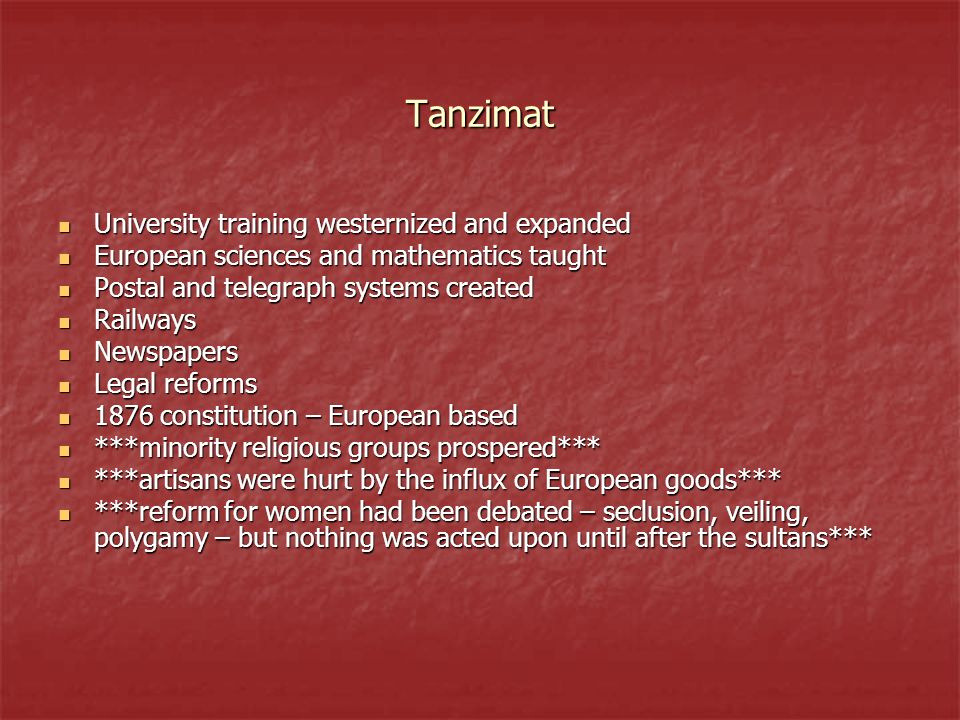 Tanzimat University training westernized and expanded