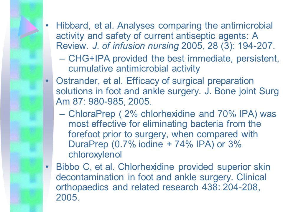Hibbard, et al. Analyses comparing the antimicrobial activity and safety of current antiseptic agents: A Review. J. of infusion nursing 2005, 28 (3): 194-207.