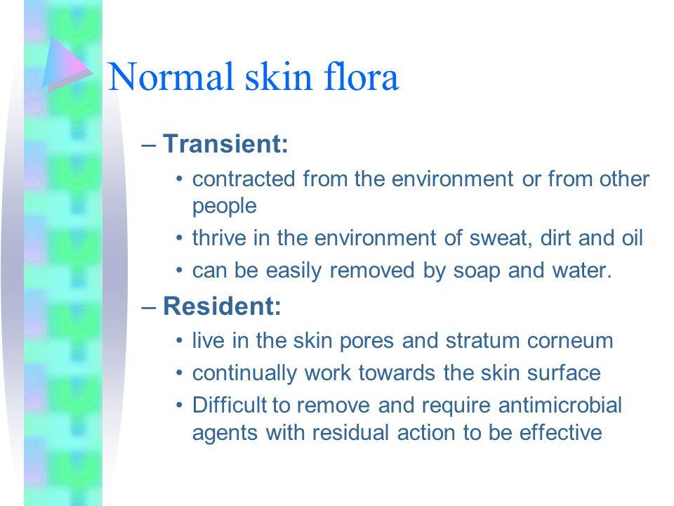 Normal skin flora Transient: Resident: