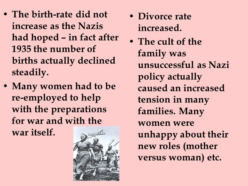The birth-rate did not increase as the Nazis had hoped – in fact after 1935 the number of births actually declined steadily.
